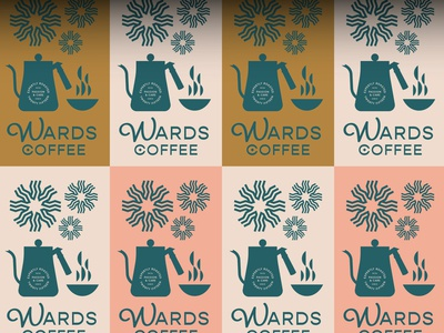 Wards Coffee sun coffee pot coffeeshop sun logo coffee shop coffee branding coffee logo