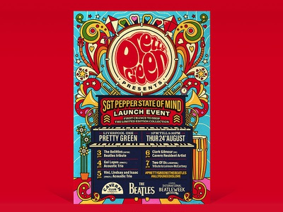 Pretty Green - Sgt Pepper State of Mind sixties menswear fashion gigposter music 60s vector illustration thebeatles beatles sgtpepper prettygreen