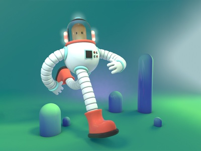 A is for Astronaut space character design 3d