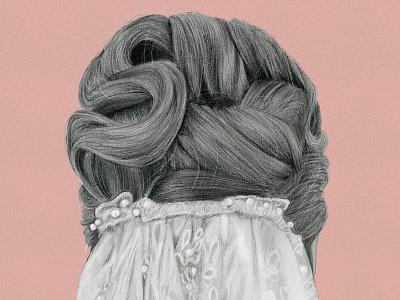 Esty's Wedding realistic hair digital illustration digital art procreate graphite graphite illustration graphite drawing