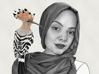 Imane & Hoopoe procreate portrait illustration graphite illustration graphite drawing digital art digital illustration