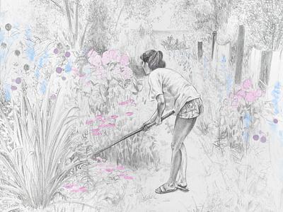 Gardening 1989 procreate portrait illustration digital art graphite illustration graphite drawing digital illustration