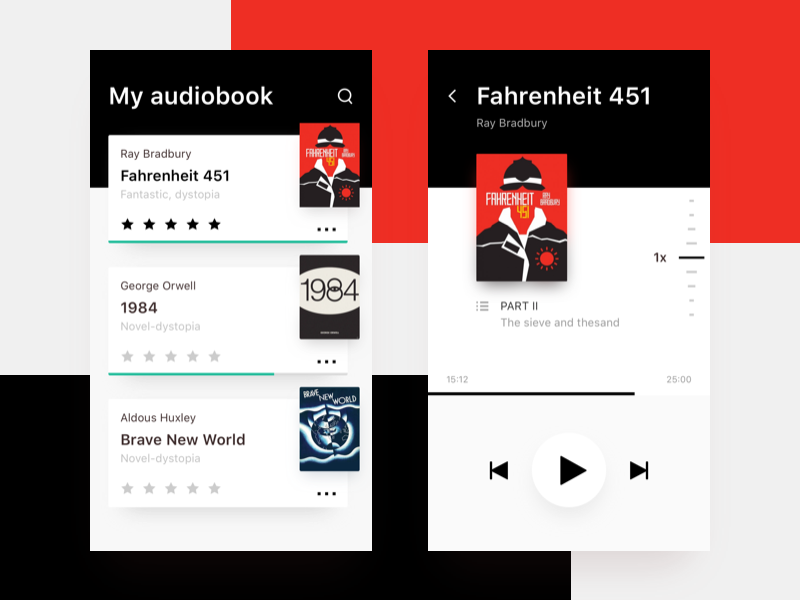 Audiobooks app concept uidesign ui plus8 mobile ios concept app audiobooks books