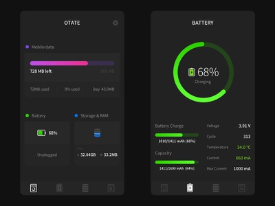 #Otate# State&Battery storage data mobile battery state ui