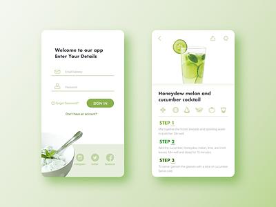 B&W ui pantone green fruit greenery cocktail