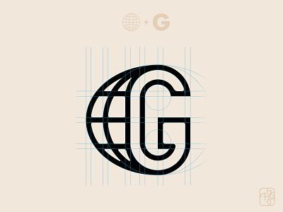 Globe G globe letter identity logotype lines logo