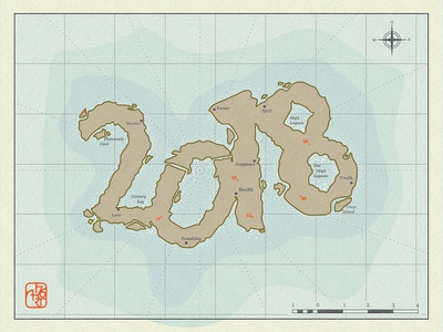 Remote new year wishes map illustration island