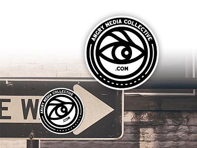 Angry Vox Media lines .com logo sticker design sticker