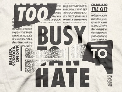 Too Busy Pt. 2 black and white clippings newspaper typography georgia atlanta