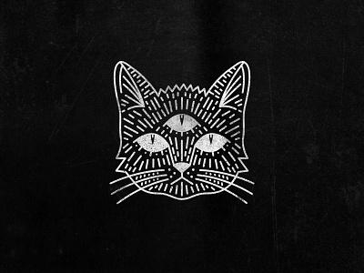 Black Cat three eyes illustration cat black