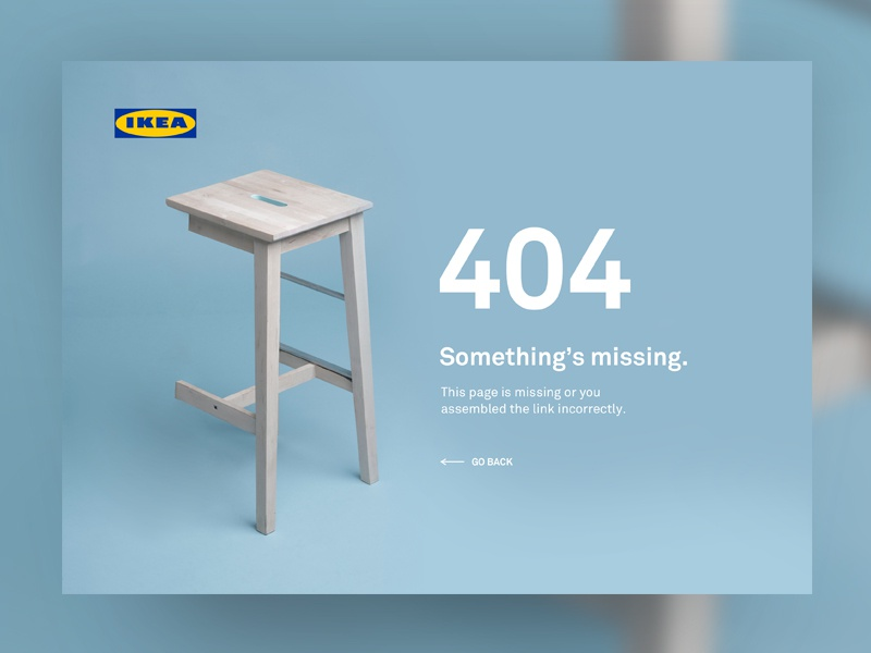 404 Page — UI Weekly Challenges-Season 02 / W [2/10] furniture missing blue chair ui error ikea wrong missing page 404 page 404