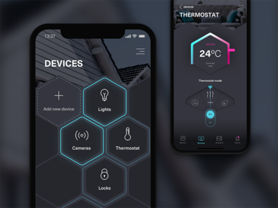 Smart Home—UI Weekly Challenges-Season 02 / Week [8/10] ios app ui blue gray hexagon hive remote control automation smart home