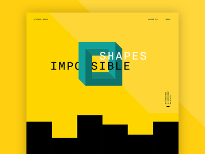 Impossible Shapes cube shapes geometry impossible escape room creative yellow ui graphic