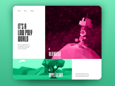 Low Poly World condensed studio homepage web ui layout polygon low