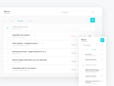 Tas.co ux ui projects management responsive list task product tool