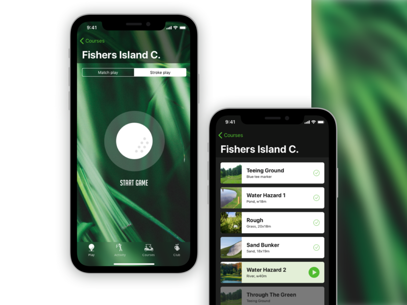 Golf CourseApp game cards golf tournament trainer mobile ui  ux iphone application golf course golfing golf ui