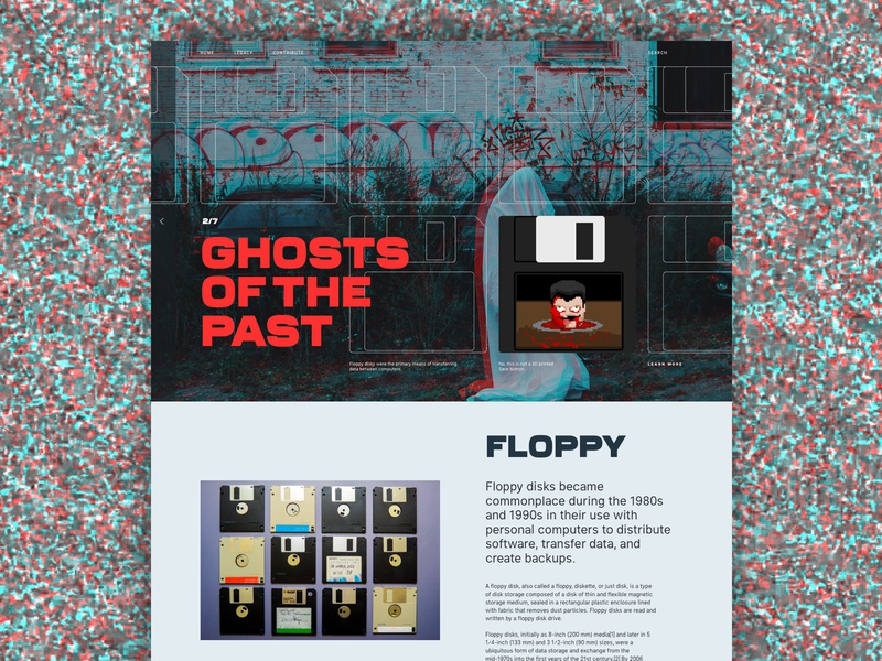Ghosts of the past - Floppy layout art direction website history ghosts old 90s static ui design user interface ui floppy vintage old school