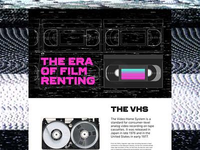 Ghosts of the past - VHS magenta illustration layout typography blockbuster film movie tape vhs retro design art direction website ui