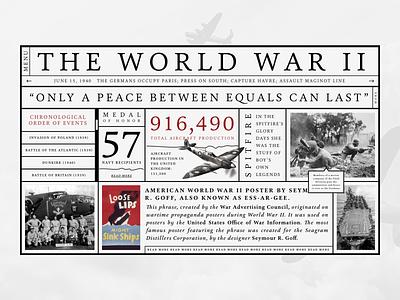World War II facts concept stroke structure brutalist world war serif typography layout art direction website ui