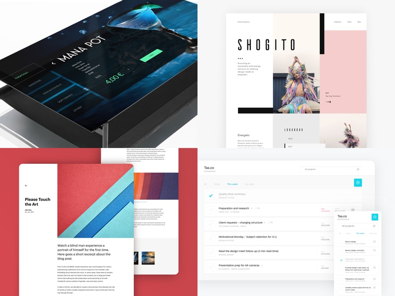 Top4Shots 2018 fashion tool blog table interactive table typography layout art direction website ui