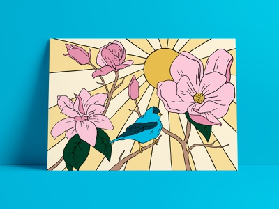 Magnolias birds floral art postcard design design art digital procreate illustration