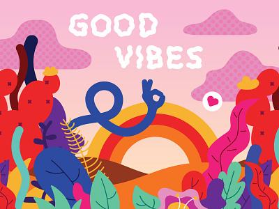 Good Vibes fun colorful art vector digital illustration design