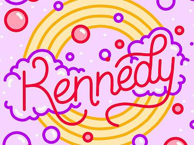 Kennedy O type design procreate monoline typography illustration