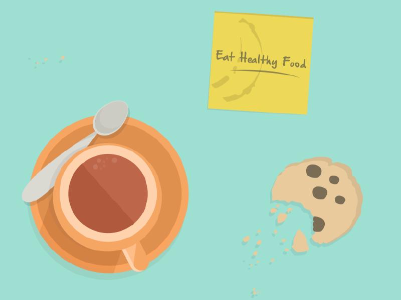 Post it: Eat healthy food pending note post it breakfast healthy food cookie coffee