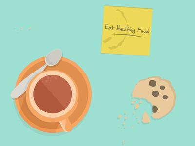 Post it: Eat healthy food