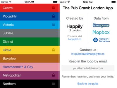 Pub Crawl: London Line Screen & About Screen