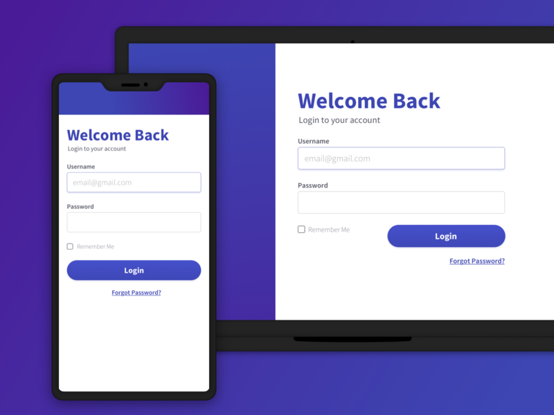 Responsive Login Screen by Max Schwanger on Dribbble