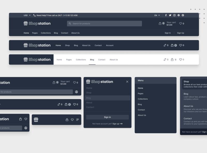 ShopStation Header Dark Mode 🌓 design tailwind tailwindcss ui