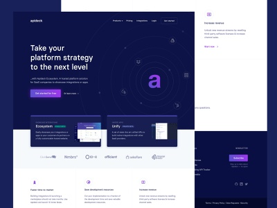 Apideck marketing website footer section branding integrations radar api cta gradient icons cards typography clean dark header masthead layout web design