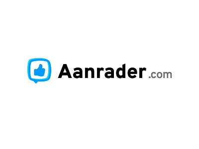 👍 Logo Aanrader.com 👍 brand identity brandmark logomark branding brand blue thumb bubble chat thumbs up font logo