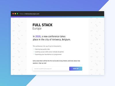 Full Stack Europe teaser page site conference newsletter signup form minimal gradient ui landing web