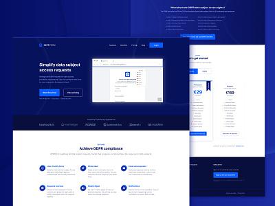 GDPR Form marketing website web design clean ui layout footer section pricing header dark blue