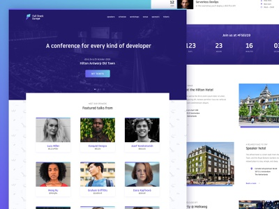 Full Stack Europe Conference Website web design button gradient branding pattern card newsletter footer masthead sections sponsors countdown timetable schedule web conference