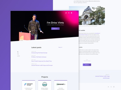 Personal website design hero masthead header gradient button cards about blog web design