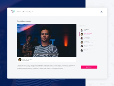 InnovationWall - community introductions video introduction top bar roboto onboarding avatar border about video controls web app ui list button close video community