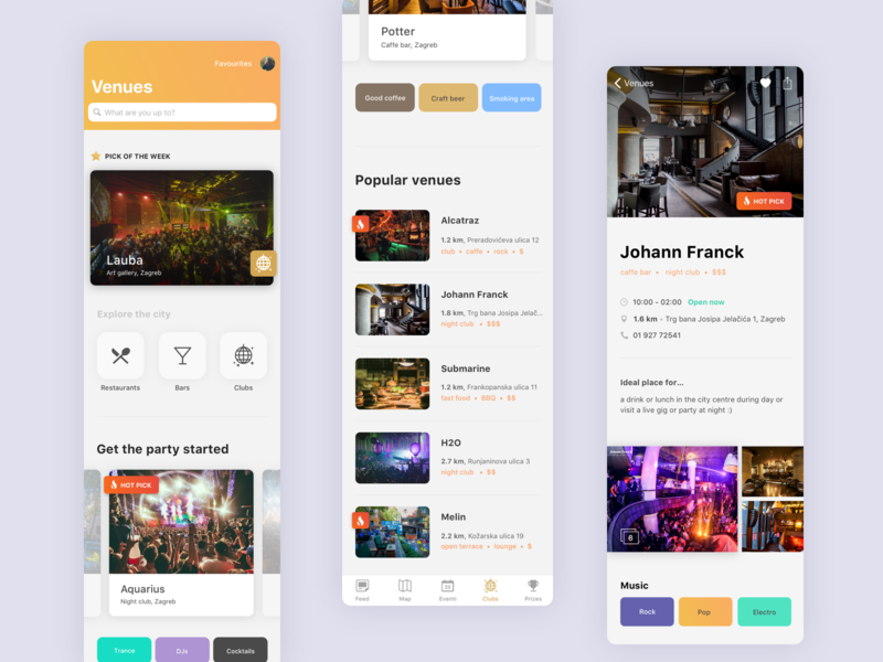 LikeUs — clubbing mobile app by Elena Crnković for Bornfight