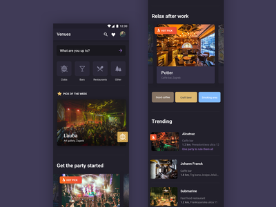 LikeUs  app —  night mode night dark location based mobile ui ux venue clubbing events app