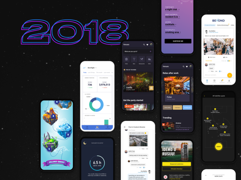 Year in review: Mobile apps of 2018 ✨ year in review cards product design layout dark ux ui apps mobile app design happy new year