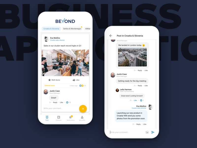 Business communication app business communication material design card chat ux strategy mobile app experience android mobile app minimal ux ui clean app