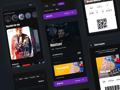 Cinema app film movie theater ux ui material design dark android ios coupon tickets movie cinema app mobile