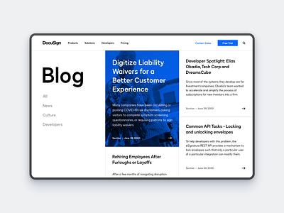 DocuSign Blog Concept modern designs concept grid simple photoshop sketch blog website product design ux minimal design ui layout docusign