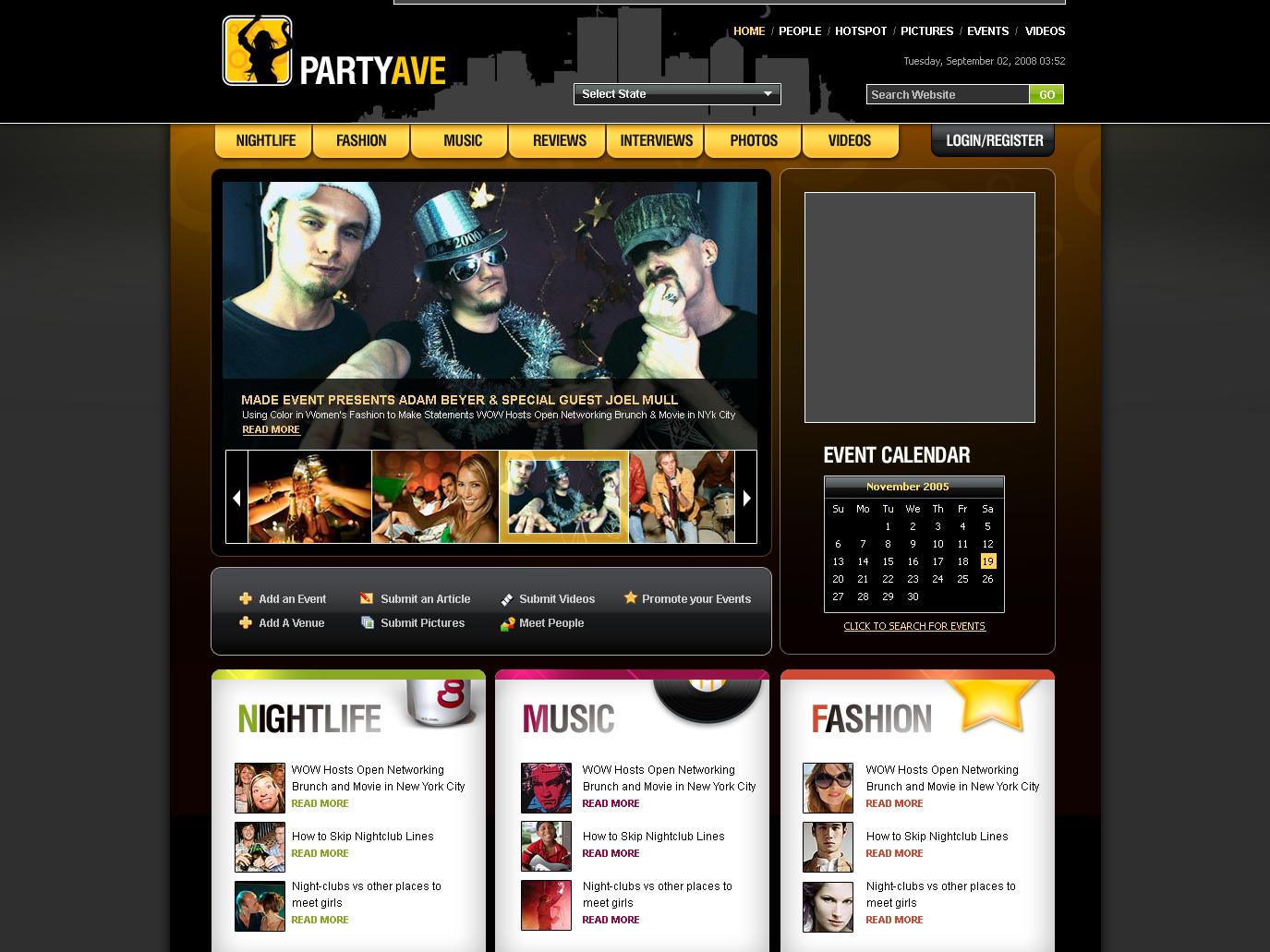 Partyave Social Events Website mockup ui social branding