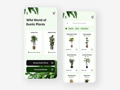 Wild World of Exotic Plants - Mobile UI Concept contrast iphone typography branding user interface green plants app ui design app design app ui