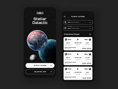 Stellar Galactic: Space Travel Agency spacex cosmos planets travel space contrast app ui design typography app ui branding app design