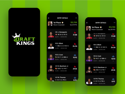 (continued) DraftKings Lineup Entry - Redesign Concept