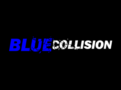 Blue Collision typography branding logo vector design